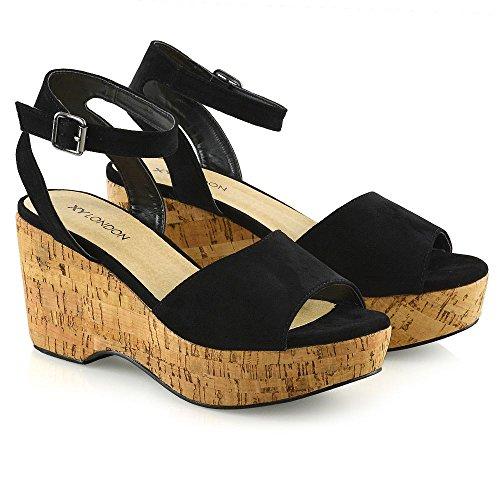 ESSEX GLAM Womens Ankle Strap Platform Demi Wedge Heel Sandals Ladies Open Toe Shoes Size Black KWlAY0q