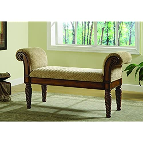 Charmant Coaster Transitional Brown Upholstered Accent Bench With Rolled Arms