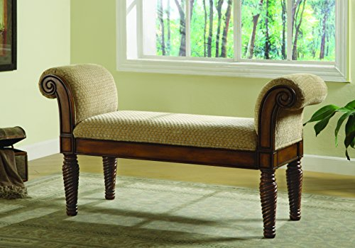 Coaster Transitional Brown Upholstered Accent Bench With Rolled Arms