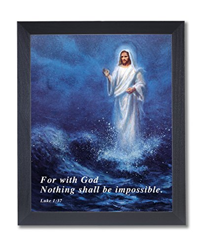 Solid Wood Black Framed Jesus Christ Walking On Water Religious Pictures Art Print