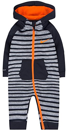 Nike Baby Boys 1-Pc. Hooded Striped Therma-Fit Coverall (Heather Grey, 3-6 Months) (Hooded Coverall Orange)