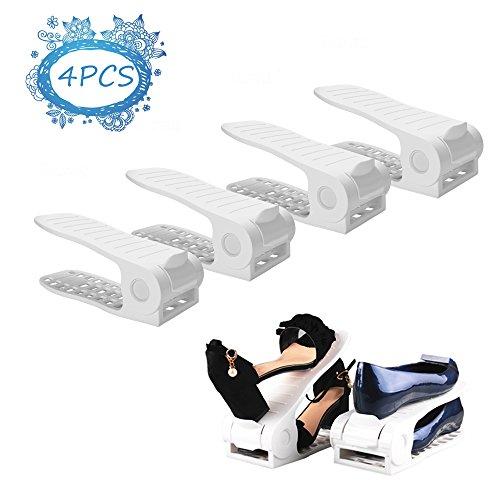 Darius Shoe Slots Space Saver Adjustable Closet Organizer,Double Storage Rack Holder, Set of 4 White