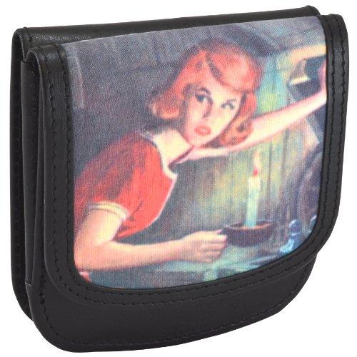 Taxi Wallet Nancy Drew Blk Small Recycled-Leather Folding Minimalist Card Womens Wallet + Coin Purse (Nancy Drew Wallet)