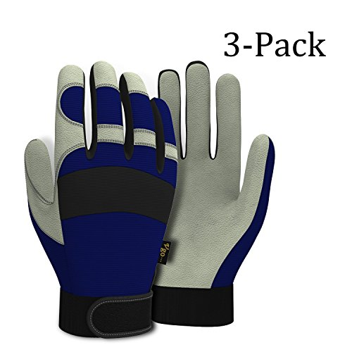 Vgo... Pigskin Leather Warm Winter Work Gloves(3-Pairs)(Color Blue, Size (Winter Leather Work Gloves)