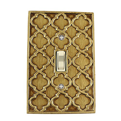 Meriville Moroccan 1 Toggle Wallplate, Single Switch Electrical Cover Plate, Antique Gold ()