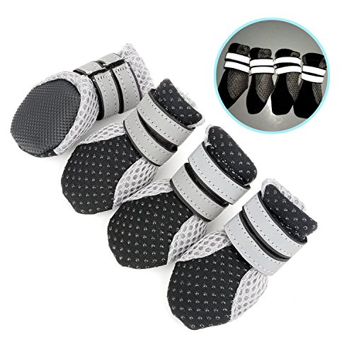 Zunea Dog Boots for Hot Pavement, Summer Breathable Soft Mesh Paw Protectors Dog Shoes with Adjustable Safe Reflective Strap and Rugged Anti-Slip Sole for Outdoor Hiking Running Black,M - Nylon Dog Booties