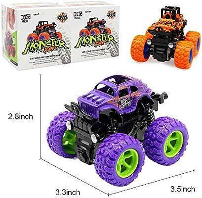 LANKEE Monster Trucks for Kids,Big Tire Trucks,4WD,360 Degree  Rotation,Friction Powered Cars,Inertia Car Toys for Boys Girls Push and Go  Cars,Purple