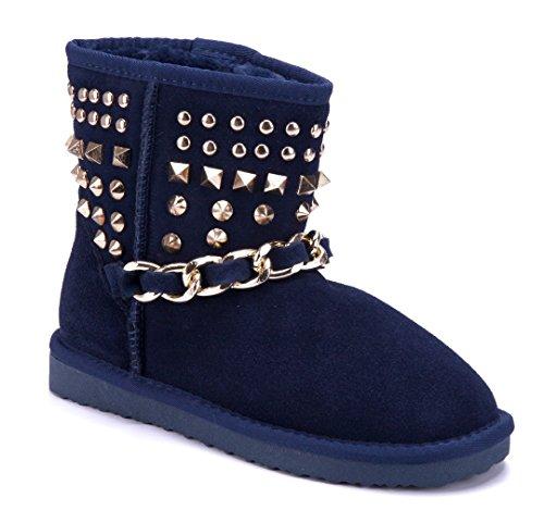 Schuhtempel24 Damen Schuhe Winterstiefeletten Stiefel Boots Flach Nieten/Zierkette/Emu Blau