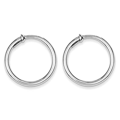 8662a8223b033 Sterling Silver Polished 2.5mm Non Pierced Clip On Hoop Earrings Length 25mm