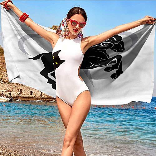 xixiBO Easter Towel W28 xL55 Zodiac Aries,Ram Silhouette Absorbent Fabric Softener Towel