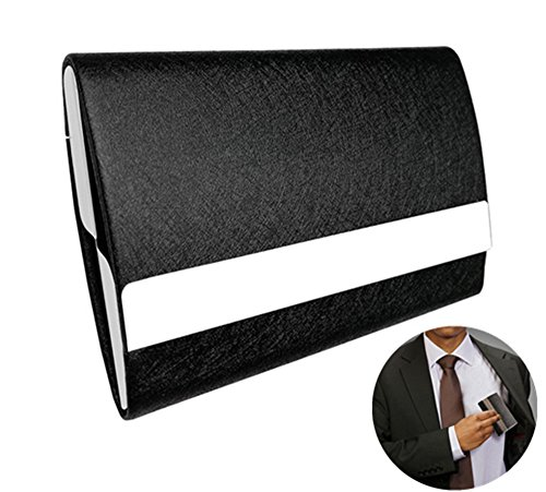 Leather Business Card Stand - Leather Business Card Holder Business Card Case Stainless Steel Card Holder Credit Card Holder with Magnetic Shut Holds 25-30 Business Cards Men or Women Name Card Holder Case, Larger Capacity black