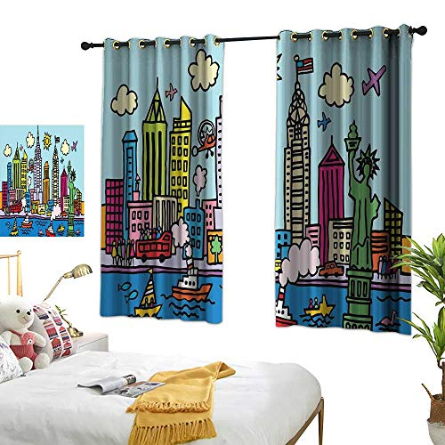 Sosoart Turquoise Curtains Playroom,New York City in Cartoon