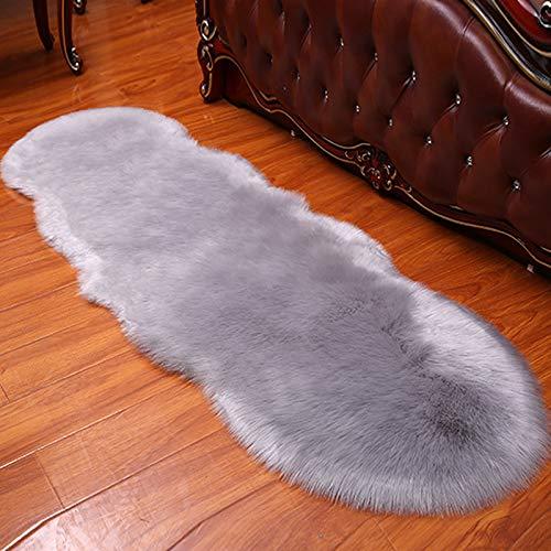 PINGLOVEF Luxury Soft Imitation Sheepskin Chair Cover Cushion mat Bedroom Plush Carpet Rug, 60x160cm, Gray