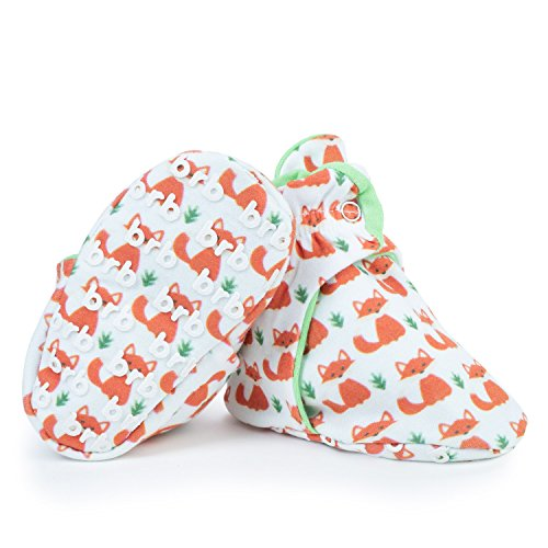 Lightweight Organic Cotton Baby Booties - Grippers, 3 Snaps - No Sock Bootie for Newborn or Infant Boys & Girls (Foxes, US 7)