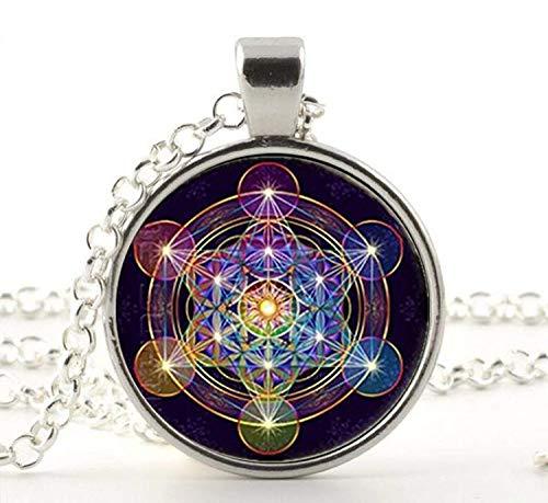 Metatron Cube Pendant Necklace Sacred Geometry Flower of Life Jewelry Chakra Spiritual Necklace Women Magic Hexagram ()