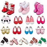 TOYYSB 6 Pairs of Shoes Fits 14.5 inch American Wellie Wishers Dolls 100% Get Boots