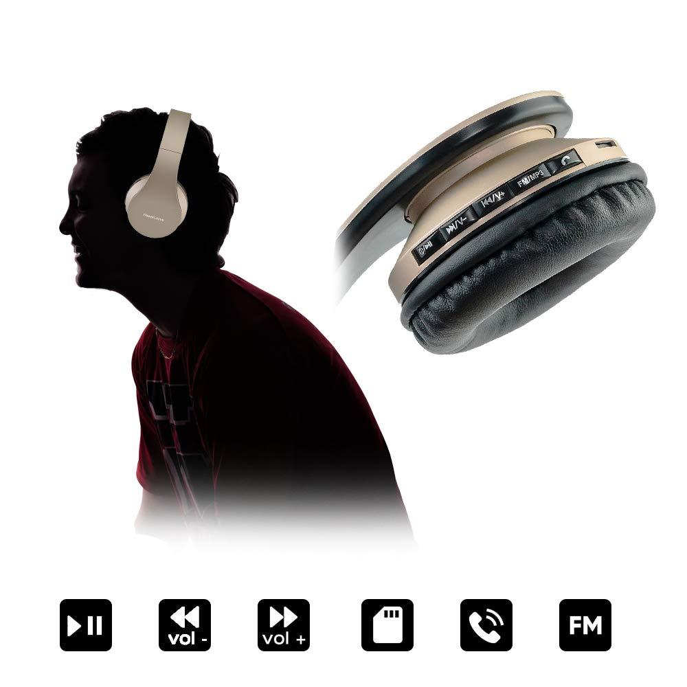 PC Tablet PowerLocus P1 Auriculares Bluetooth inalambricos de Diadema Cascos Plegables Oro Rosa Casco Bluetooth con Sonido Est/éreo con Conexi/ón a Bluetooth Inal/ámbrico y Audio Cable para Movil