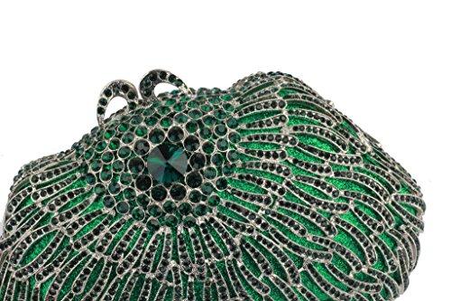 Yilongsheng Señoras baile bolsos del partido con el cristal(verde)