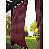 TWOPAGES Outdoor Curtain Antique Bronze Grommet Eyelet(Both Top and Bottom) Burgundy 200'' W x 96'' L For Front Porch, Pergola, Cabana, Covered Patio, Gazebo, Dock, and Beach Home (1 Panel).