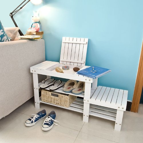 Haotian Bamboo Shoe Rack, Bench, Stool, Display Racks, Seat with Sorage Draw On Top, Size: 90cm(35.4in)×30cm(11.8in)×45cm(17.7in), FSR08-W,white (Split Seat Storage Bench)