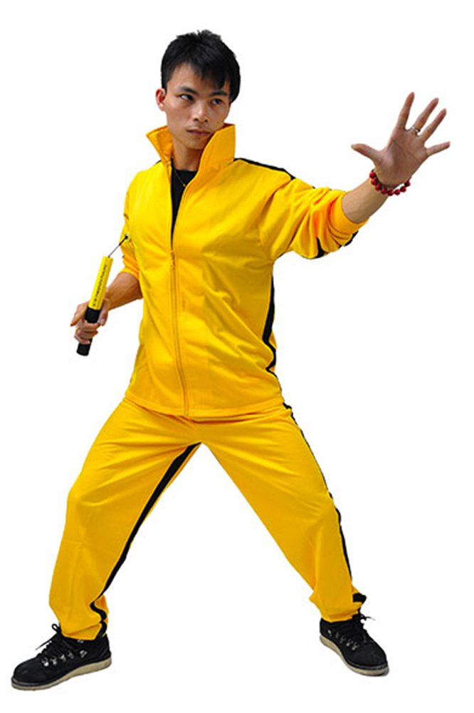 ZOOBOO amarillo artes marciales Jumpsuit–Pelele de disfraz de Halloween lucha contra película Chándal traje ropa deportiva para hombres y mujeres–amarillo