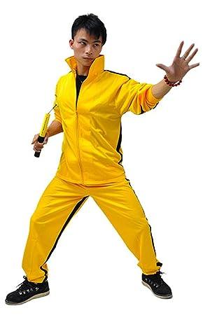 ZooBoo Amarillo Artes Marciales Jumpsuit - Pelele de Disfraz de Halloween Lucha contra película Chándal Traje Ropa Deportiva para Hombres y Mujeres ...