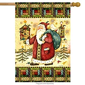 Papá Noel Birdhouse Bandera de casa navideña