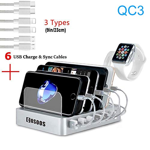 COSOOS Fastest Charging Station with QC3, 6 Phone Charger Cables(3 Type),lWatch Stand,6-Port USB Charger Station,Charging Station for Multiple Devices,Tablet,Kindle(White,UL Certified) (Mum Don T Come In S And M)