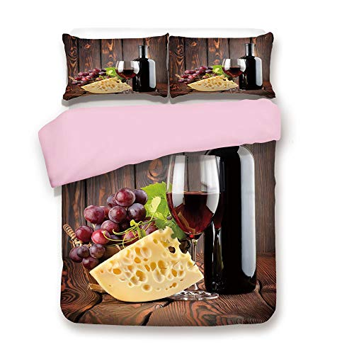 ,Queen Size,Red Wine Cabernet Bottle and Glass Cheese and Grapes on Wood Planks Print Decorative,Decorative 3 Piece Bedding Set with 2 Pillow Sham,Best Gift For Girls Women,Brown B ()
