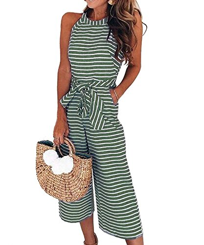 Green Halter Stripe (Bolomi Women's Sleeveless Halter Stripe Wide Leg Party Cocktail Jumpsuits Rompers with Pockets Green M)