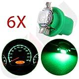 honda accord clock light bulb - cciyu B8.5D 1SMD 5050 Car Green LED Light Bulb Instrument Indicator Light C5W Side Interior Lamp Bulb,6Pack