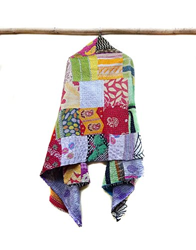 New Indian Cotton Kantha Fashion Scarf Reversible Bohemian Handmade Sarong Band patchwork