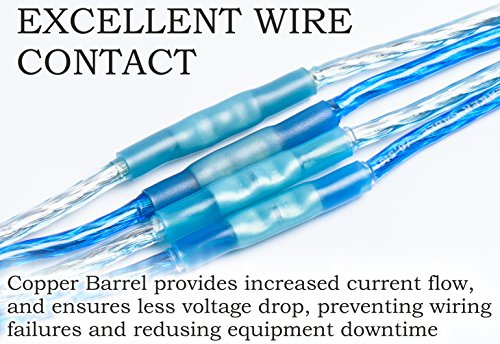 100 16-14 AWG BLUE HEAT SHRINK BUTT WIRE CONNECTOR AUTOMOTIVE-MARINE GRADE