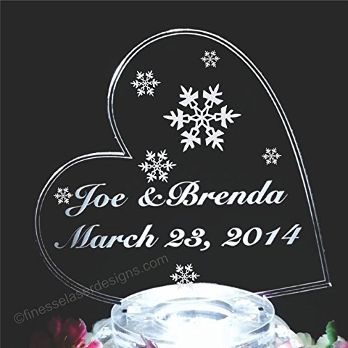 Side Heart w Snowflakes Lighted Acrylic Wedding Cake Topper Custom Engraved - Snowflake Wedding Cake Top