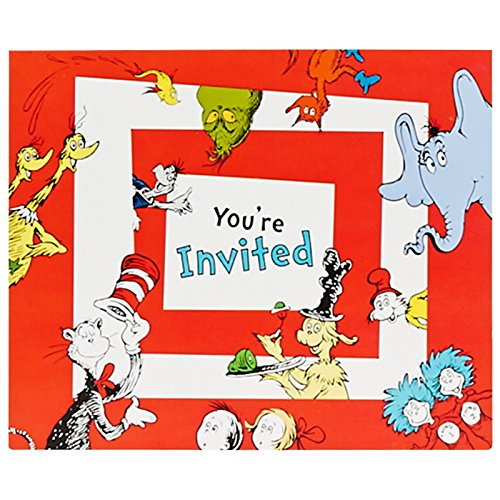 Dr Seuss 1st Birthday Party Supplies - Invitations (8) (Seuss Invitations)