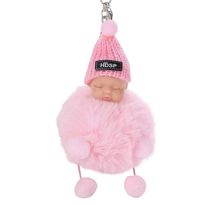Amazon.com: Cute bebé dormido felpa Faux Fur Bola Pom Pom ...