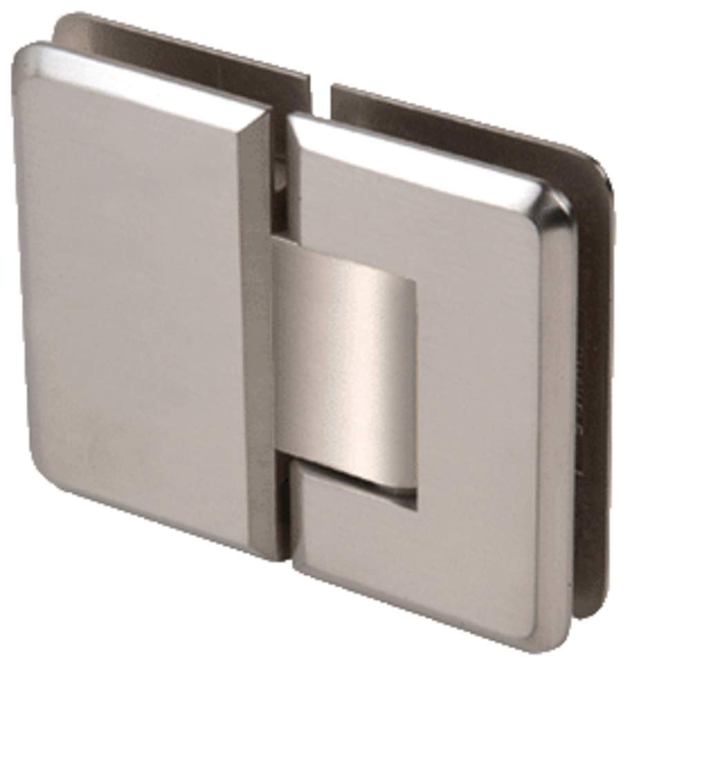 CRL Pinnacle 180 Series Brushed Nickel 180186; Glass-To-Glass Standard Hinge