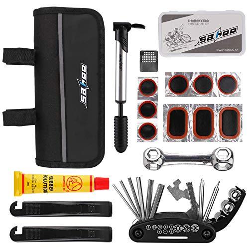 Hootracker Bicycle Repair Bag Set Bike Repair Multi Tool Kit with Mini Bicycle Repair Bag Set Bike Tire Fix Metal Rasp…