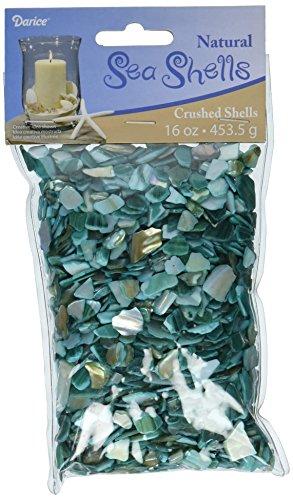 NATURAL SEA SHELL 2DAC008 Floral Crushed Shells Aqua Small 16 Ounces, Green ()