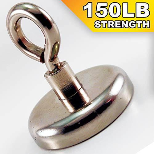 Neodymium Fishing Magnets - 150 lb Magnet (68kg), Strong Magnet Hooks - Super Magnets, Rare Earth Magnet, Metal Retrieving, Hunting, Salvage and Retrieval