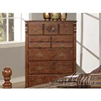 Acme Furniture Ponderosa Collection 01726 36 Chest with 5 Drawers Antique Brass Metal Hardware Center Metal Drawer Glides and Solid Pine Wood Construction in Walnut