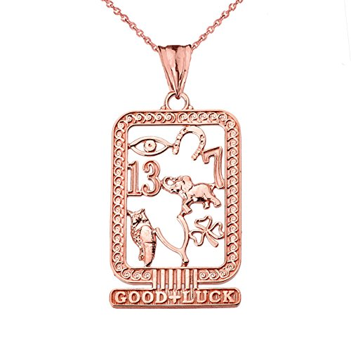 Fine 10k Rose Gold Ancient Egyptian Good Luck Cartouche Pendant Necklace, 20