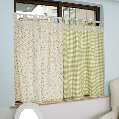 Pastorale Multi Flowers Ruffle Lace Window Curtains Valance Tier Pairs for Kitchen Café Bath Laundry Bedroom Green 2-Piece 51x31 - Tier Curtains Kitchen Kitchen