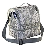 Nex Lunch Bag Fabric Christmas Gifts Double Decker Cooler Lunch Box Insulated Lunch Bag with Zip Closure(Camo)