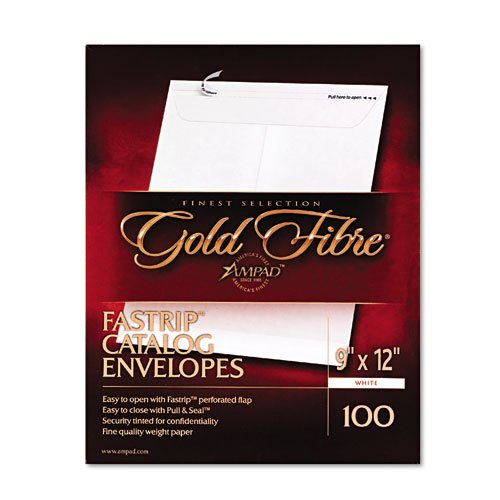 - Ampad Gold Fibre Fastrip Catalog Envelope, Side Seam, 9 x 12, White, 100/Box