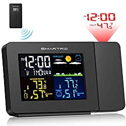SMARTRO SC91 Projection Alarm Clock for Bedrooms with Weather Station, Wireless Indoor Outdoor Thermometer, Temperature Humidity Monitor Gauge Hygrometer