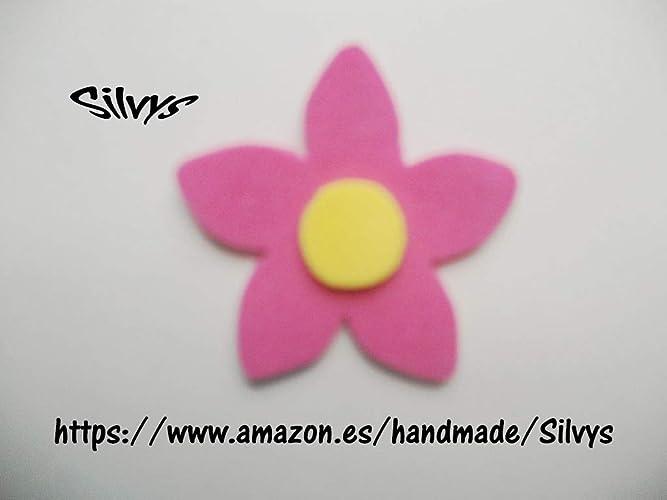 10 Flores de goma eva con 5 petalos color rosa y estambre ...