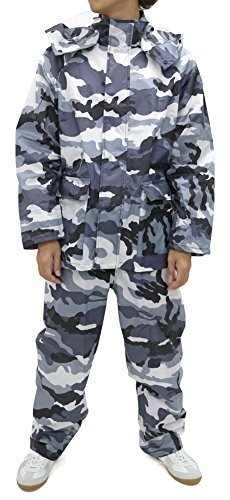 Noxus Men's Rain Suit Camouflage Rain Jacket and Pants Rainwear Sets Waterproof (X-Large, White Camo)