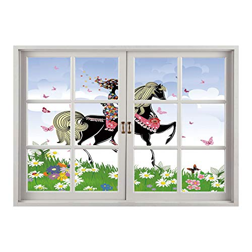 SCOCICI Creative Window View Home Decor/Wall Décor-Horse Decor,Floral Girl Riding Pony in Fantasy Spring Field Butterflies Daisies Girls Room Decorative,Multicolor/Wall Sticker Mural
