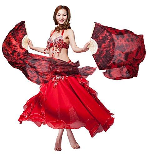 Folding Wings Costume (GUILTY BEAUTY Belly Dance Silk Folding Fans,Black-Burgundy,71